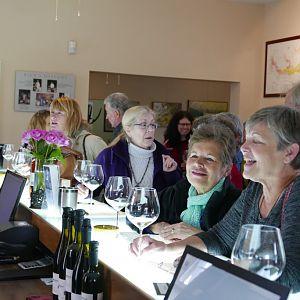 Deborah, LeeAnn and Teri tasting at Longoria's tasting room