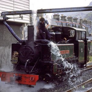 Mountaineer taking water at Blaenau Ffestiniog, 1980/90s