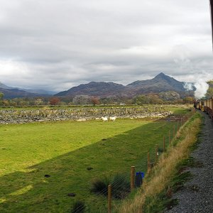 From the Welsh Highland Railway looking across Traeth Mawr to Cnicht and the Moelwyns