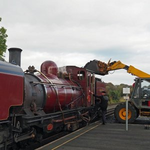 Taking coal, Dinas Station, Welsh Highland Railway