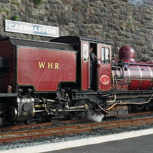 The red Garrett at Caernarfon Station, Welsh Highland Railway