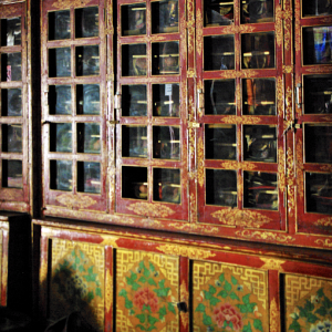Cupboards containing sacred books, Dukhang, Likir Gompa