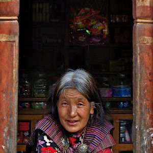Bhutanese shopkeeper at Haa