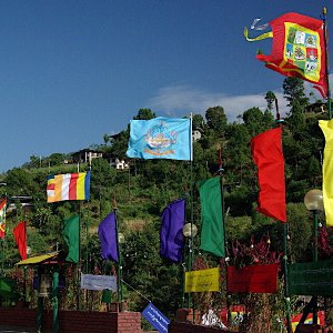 Prayer flags, Yosercholing Monastery, Ranjung, Bhutan