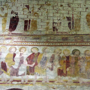 Lavardin, Église St-Genest -  washing feet fresco.png