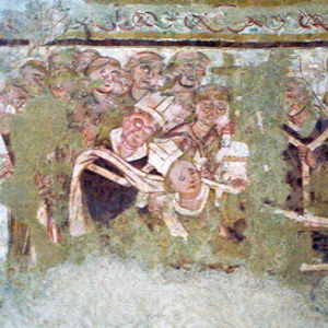 Antigny,  Église Notre-Dame - fresco of funeral of a bishop.png