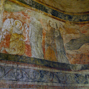 Polignac, Église Sainte-Anne et Saint-Martin - C15th fresco of the Annunciation and Nativity