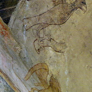 Polignac, Église Sainte-Anne et Saint-Martin - C15th fresco of an eagle and gryphon