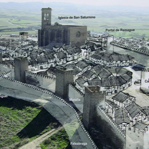 Cerco de Artajona - artist's impression of the medieval settlement