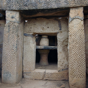 Mnajdra - decorated porthole doorway in western temple
