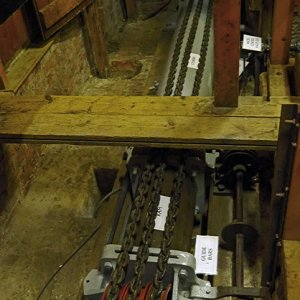 Moveable ram mechanism in the basement for the hydraulic lift, Cragside