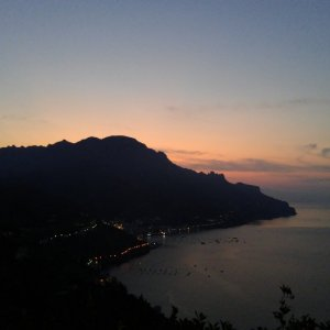 sunset view from our Airbnb in Ravello
