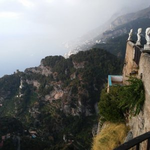 view from the Terrace of Infinity of the Villa Cimbrone garden in Ravello in the rain