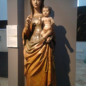 beautiful statue of madonna and child in the museum of the Amalfi Cathedral