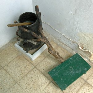 Dar Jellouli Museum of Popular Arts and Traditions, cooking pot with footboard to steady it.