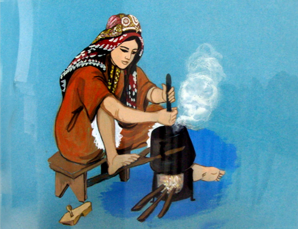 Dar Jellouli Museum of Popular Arts and Traditions, illustration of use of cooking pot