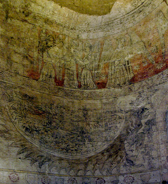 Polignac, Église Sainte-Anne et Saint-Martin - C12th fresco of the Last Judgement